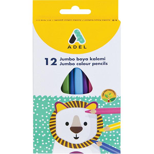 Adel Jumbo Triangular Colour Pencils - 12